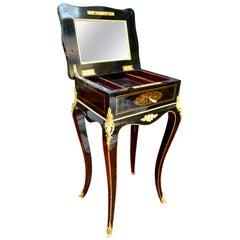 Napoleon III Ebonized Wood, Brass Inlay and Ormolu Jewelry Table by Tahan