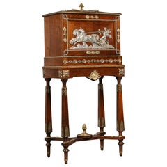 Napoleon III Empire Revival Humidor Cabinet on Stand by Diehl