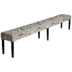 Napoleon III Extra Long Hall Bench in House of Hackney Jacquard