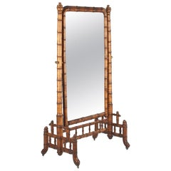 Napoleon III Faux-Bamboo Cheval Mirror, France, Late 1800s