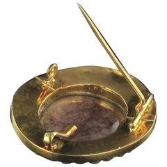 Napoleon III Fine Pearl Enamel Agate Gold Cameo Brooch