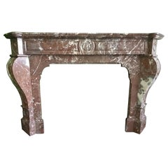 Napoléon III Fireplace in Red-Brown Marble