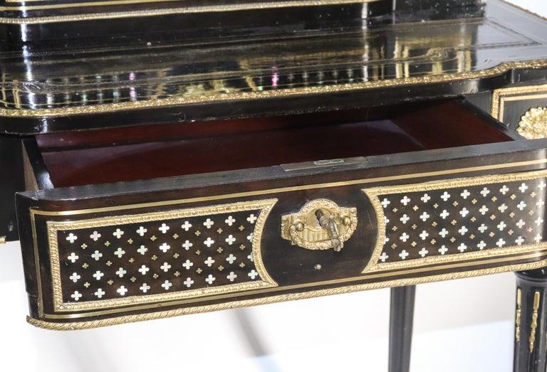 20th Century Napoleon III French Black Lacquered Bonheur du Jour Desk For Sale