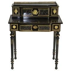 Napoleon III French Black Lacquered Bonheur du Jour Desk
