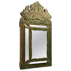 Napoleon III French Brass Cushion Mirror