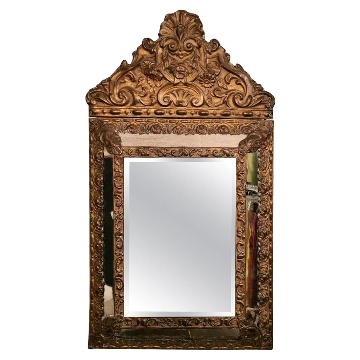 Napoleon III French Brass Wall Mirror