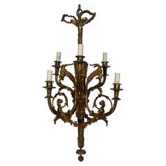Napoleon III French Bronze Six Light Bronze Chandelier