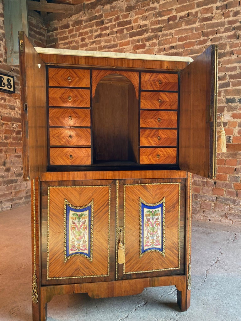 Marble Napoleon III French Cabinet Escritoire Kingwood and Rosewood, France, 1890 For Sale