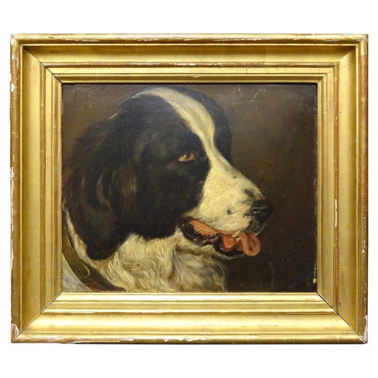 """Napoleón III French """"Dog portrait"""" León-Charles Audienne Signed, Oil on Wood For Sale"""