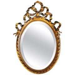 Napoleon III French Golden Leaf Oval Mirror
