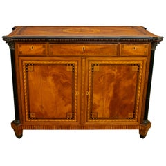Napoleon III French Sideboard Inlaid with Geometric Floral Motifs, 1850