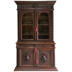 Napoleon III French Solid Oak Bibliotheque Bookcase Mid-19th Century, circa 1850
