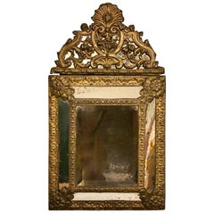 Napoleon III French Wall Mirror with Brass Inserts Worked in Repoussé