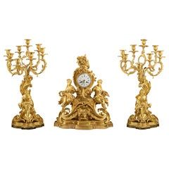 Napoleon III Garniture, France, 19th Century, Lemaire, Carrier-Belleuse