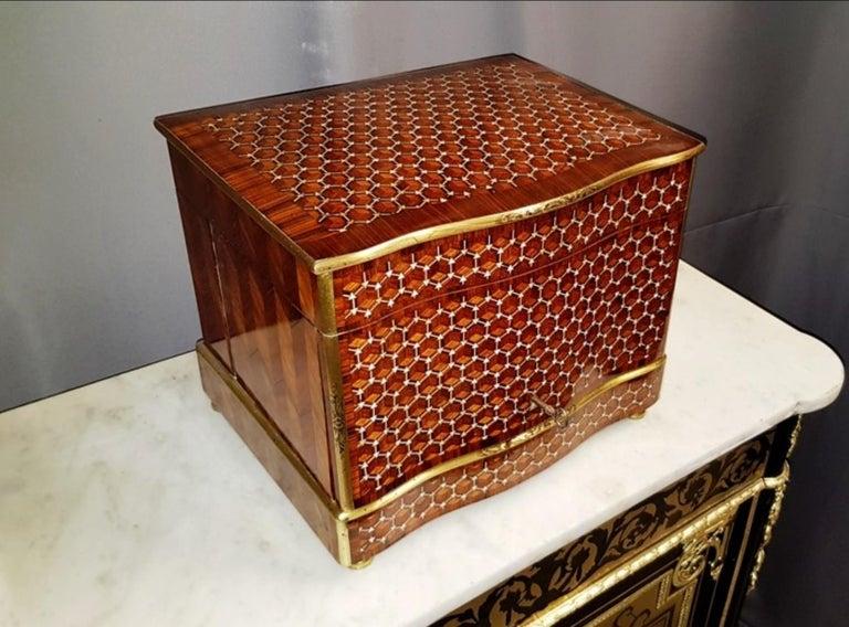 Gilt Napoleon III Geometric Style Bronze Liquor Cellar, France, 1865 For Sale