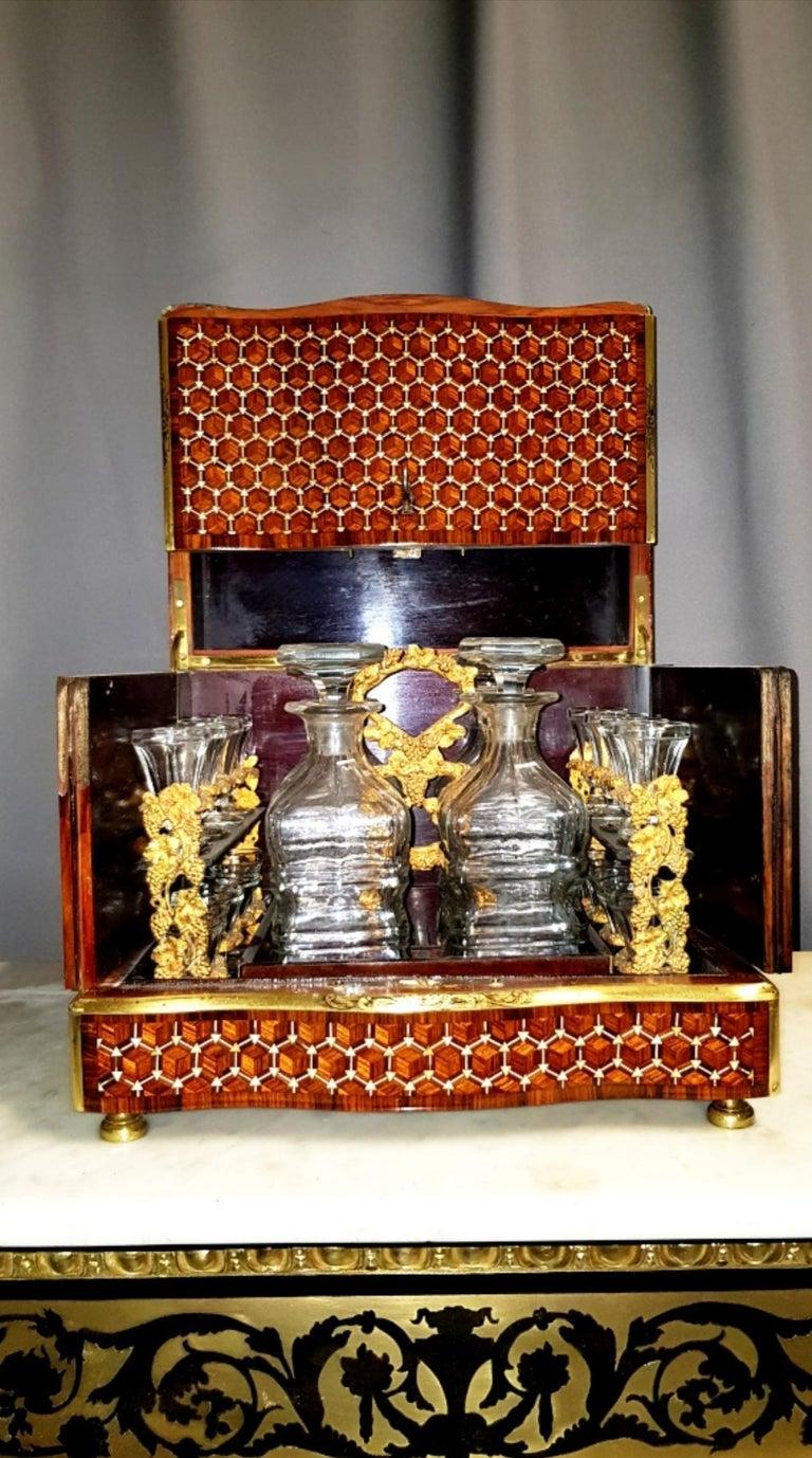 Mid-19th Century Napoleon III Geometric Style Bronze Liquor Cellar, France, 1865 For Sale