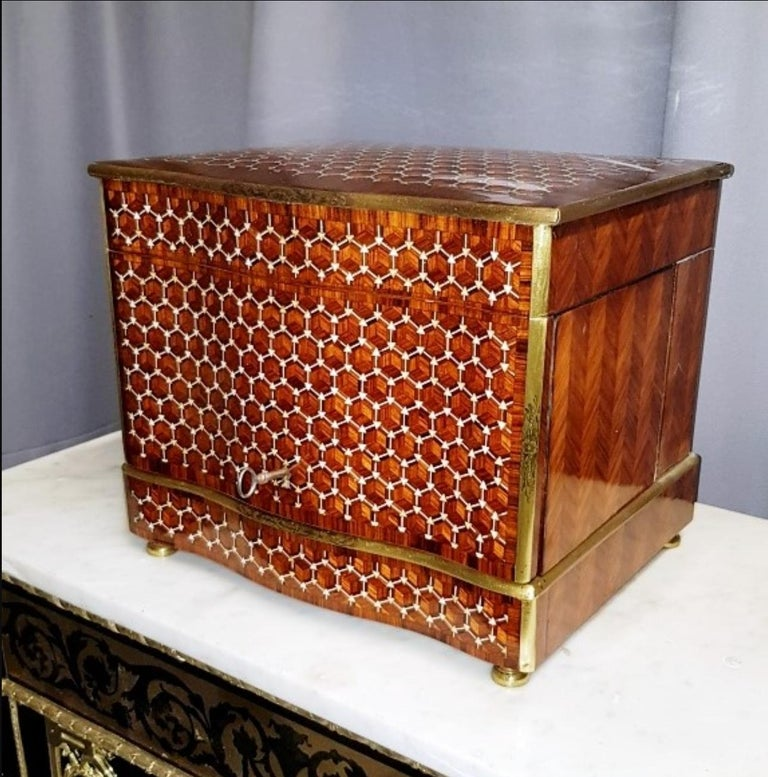 Crystal Napoleon III Geometric Style Bronze Liquor Cellar, France, 1865 For Sale