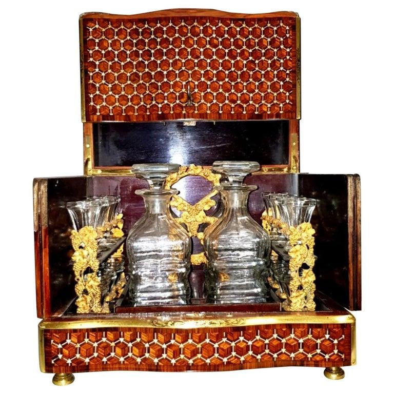 Napoleon III Geometric Style Bronze Liquor Cellar, France, 1865 For Sale