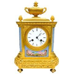 Napoleon III Gilt Bronze and Serves Style Porcelain Plaque Clock