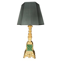 Napoleon III Gilt Bronze Malachite Column Lamp