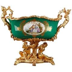 Napoleon III Gilt Bronze-Mounted Green Ground Porcelain Jardinière