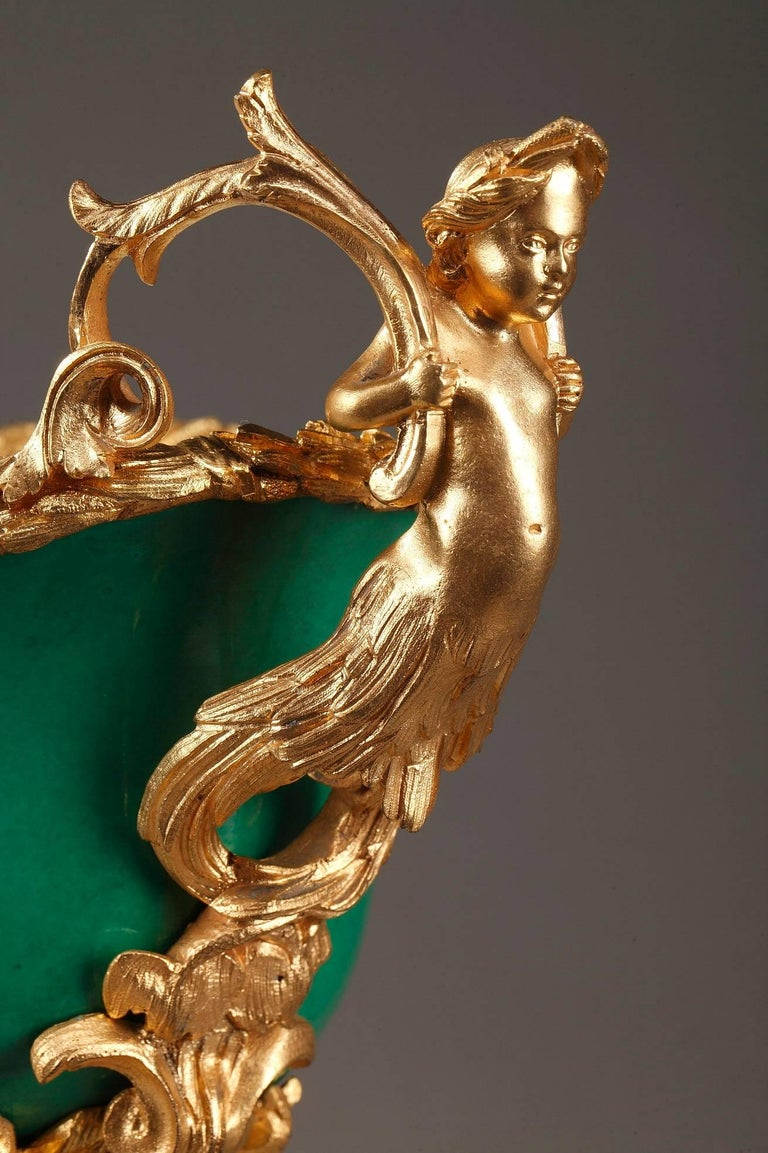 French Napoleon III Gilt Bronze-Mounted Green Ground Porcelain Jardinière For Sale