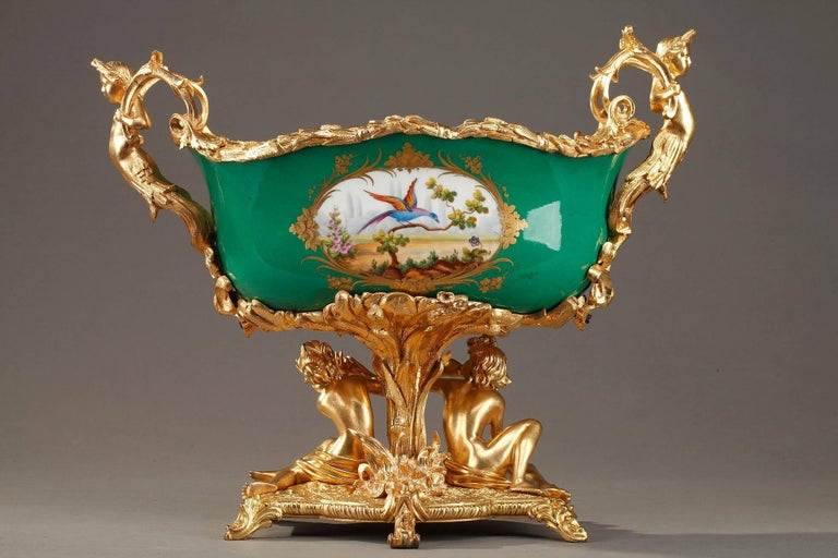 Napoleon III Gilt Bronze-Mounted Green Ground Porcelain Jardinière In Good Condition For Sale In Paris, FR