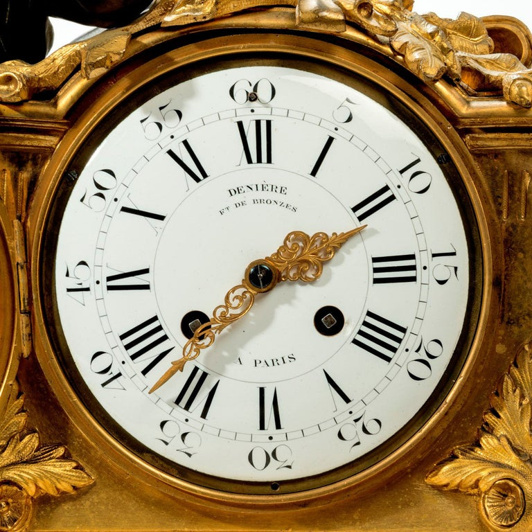 French Napoleon III Gilt Mantel Clock by Deniere For Sale