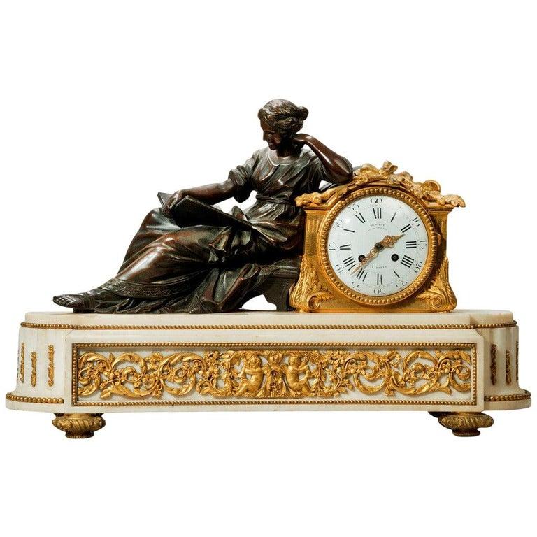 Napoleon III Gilt Mantel Clock by Deniere For Sale