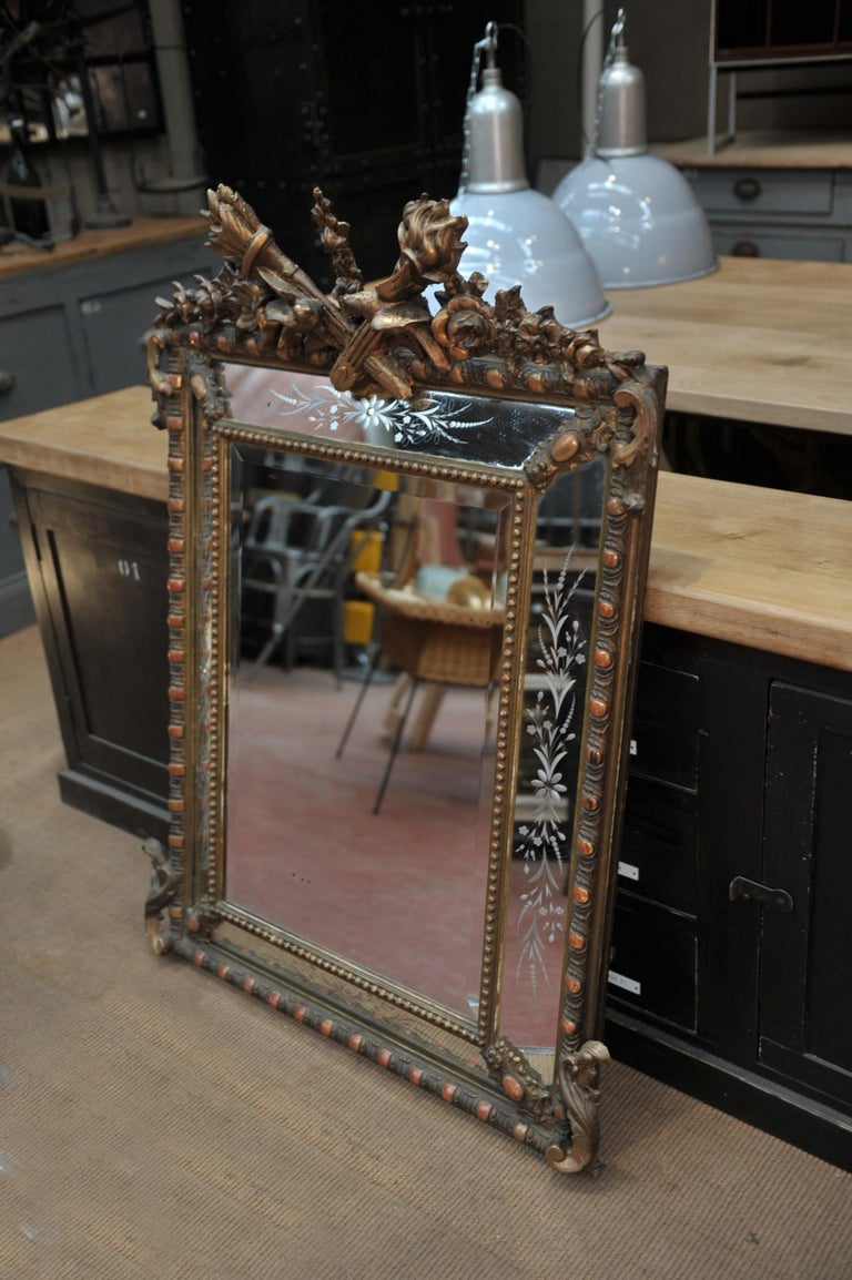 Napoleon Iii Gilt Mirror With Carved Glass Circa 1850 At