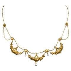 Napoleon III Gold Rose Necklace with Fresh Water Pearls