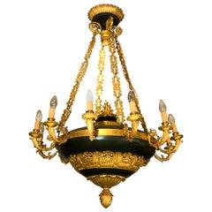 Napoleon III Golden Bronze and Dark Green Lacquer Twelve-Light Chandelier
