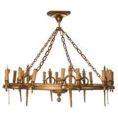 Napoleon III Golden Bronze Eight-Light Rounded Chandelier
