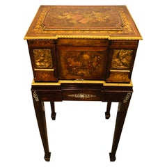Napoleon III Jewelry Vanity Box with Original Velvet Fittings on Stand