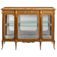 Napoleon III Kingwood Marble Topped Breakfront Display/Side Cabinet