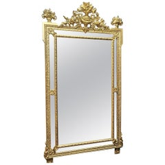 Napoleon III Large Giltwood Stucco Wall Mirror, France, 19th Century