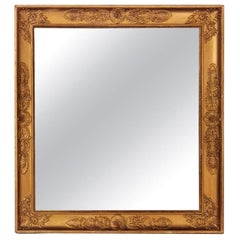 Napoleon III Late Empire French Mirror in Gold Leaf Wood