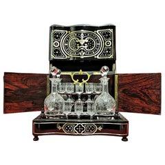Napoleon III Liquor Cellar Cabinet and Baccarat Crystal Set, France, 1865