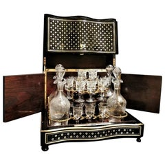 Napoleon III Liquor Cellar Mother of Pearl Boulle Marquetry, France 19th Century