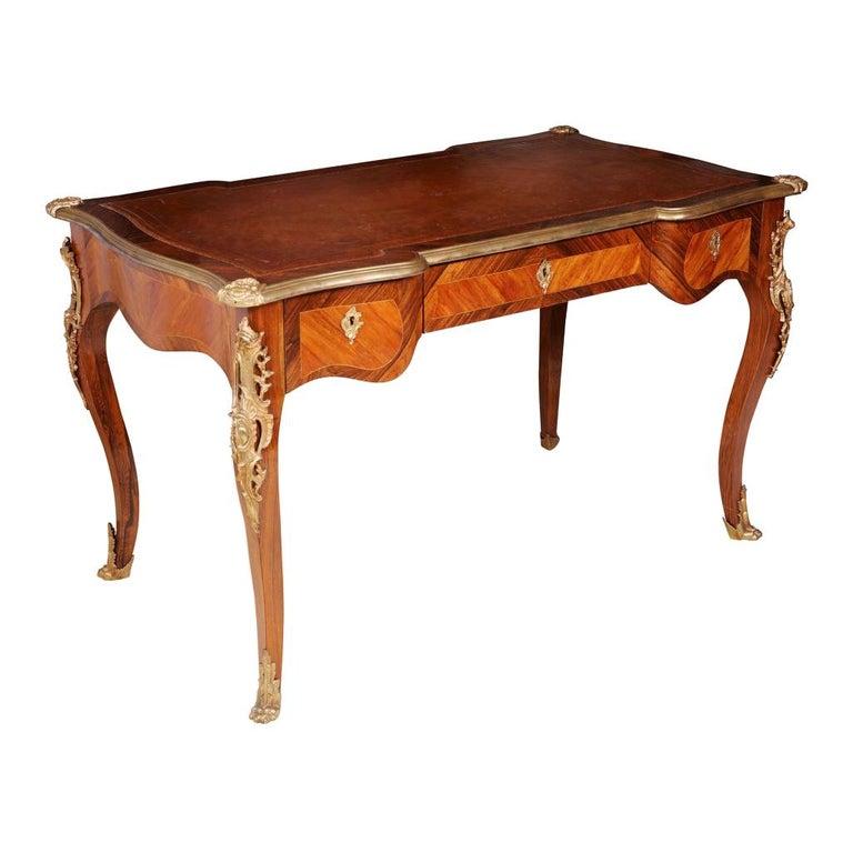 Napoleon III Louis XV Tulipwood Bureau Plat For Sale
