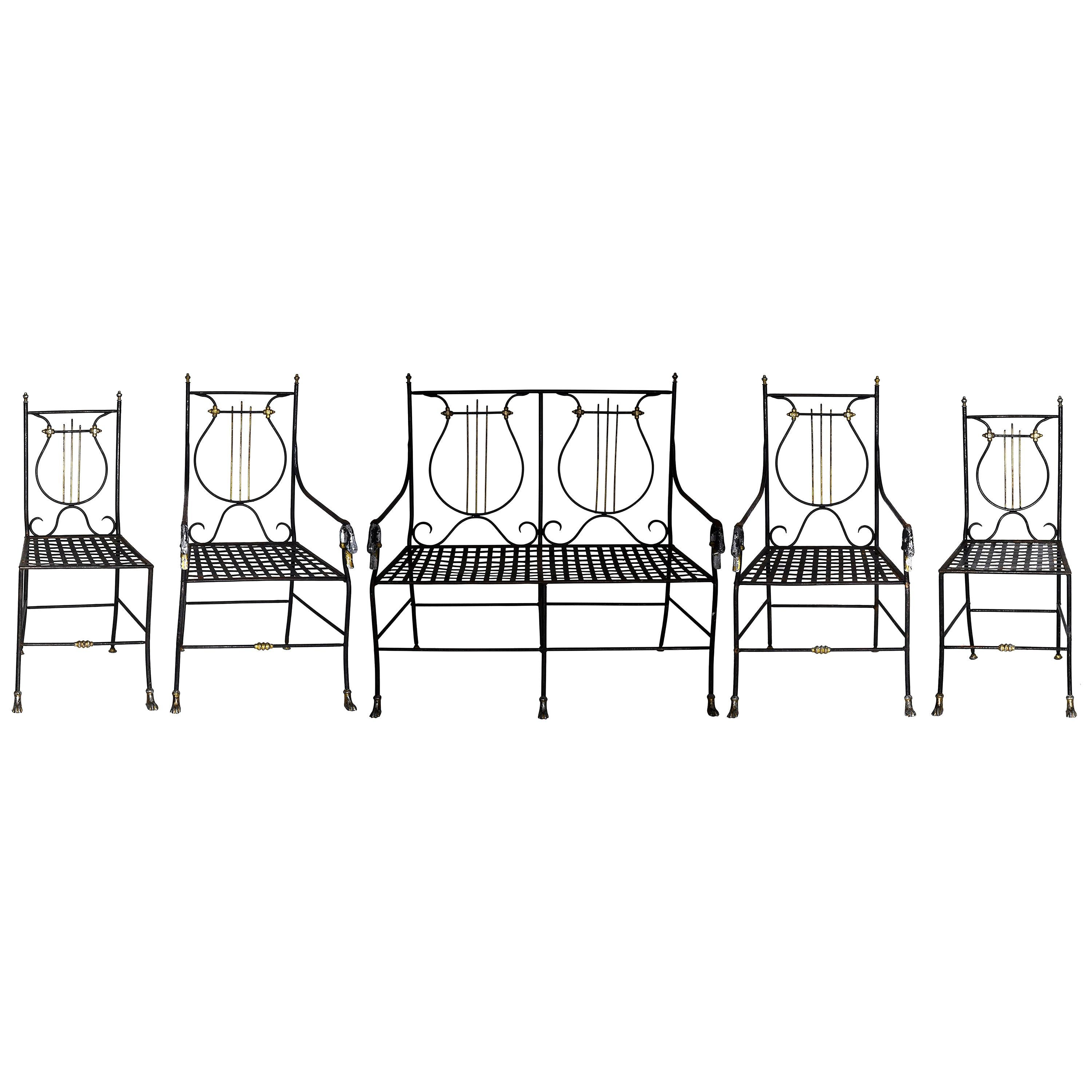 19th Century French Iron Garden Bench and Chairs