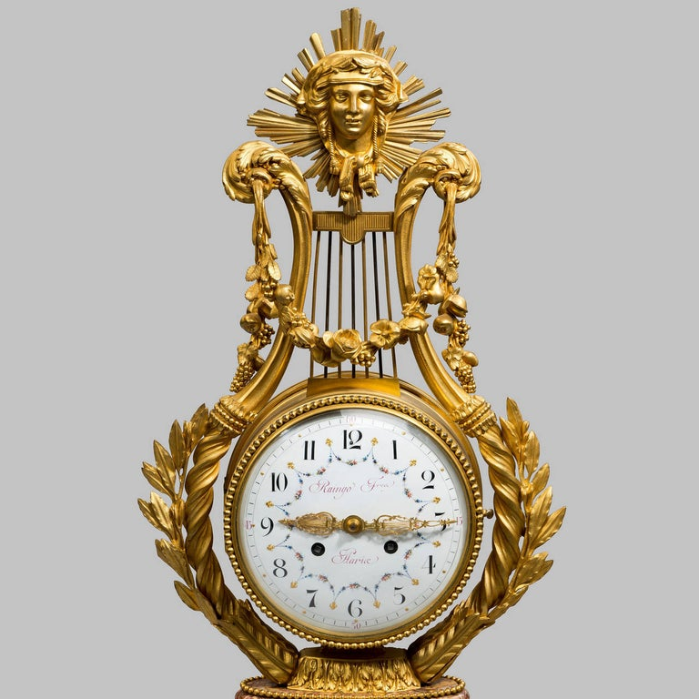 French Napoleon III Lyre Clock with Ormolu Hands For Sale