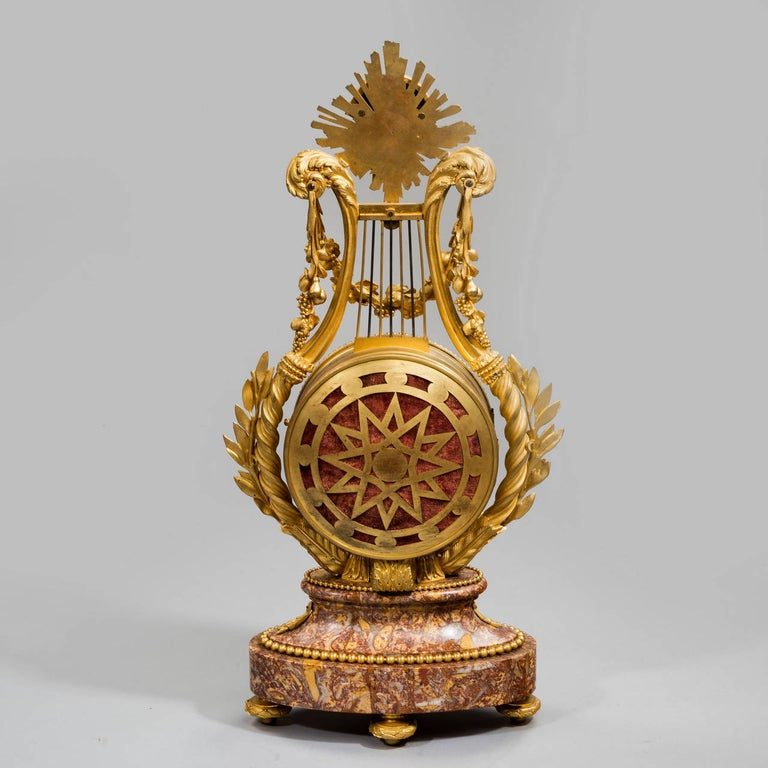 Napoleon III Lyre Clock with Ormolu Hands In Good Condition For Sale In Lymington, Hampshire