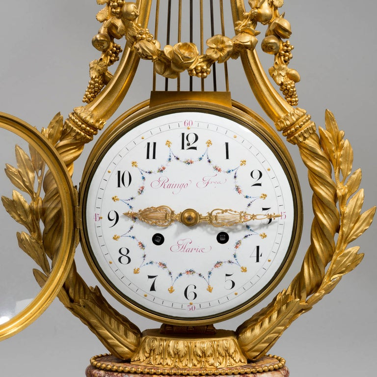 19th Century Napoleon III Lyre Clock with Ormolu Hands For Sale