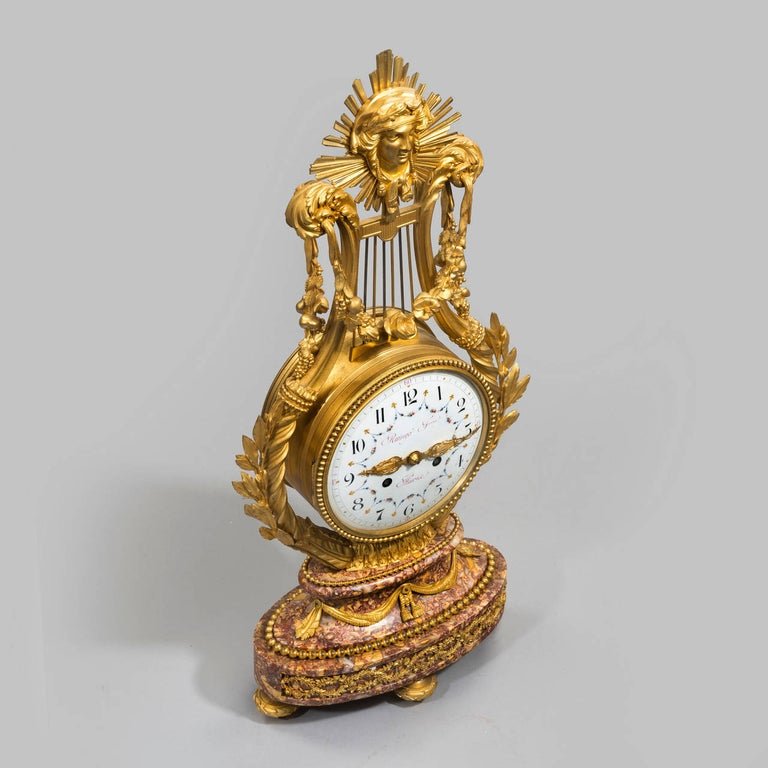 Napoleon III Lyre Clock with Ormolu Hands For Sale 1