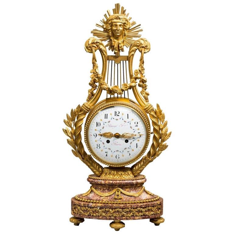 Napoleon III Lyre Clock with Ormolu Hands For Sale