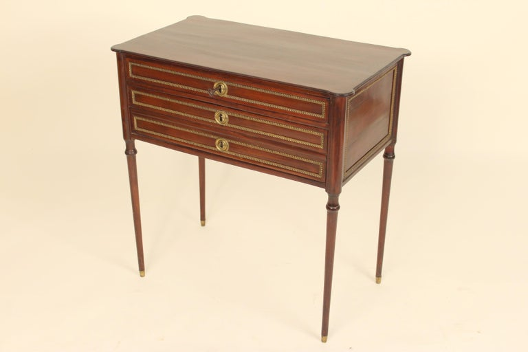 European Napoleon III Mahogany and Gilt Bronze Occasional Table For Sale