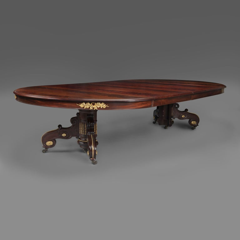 Gilt Napoléon III Mahogany Extending Dining Table by Maison Grohé, French, circa 1860 For Sale