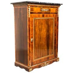 Napoleon III Nut Wood Half Cabinet/ Vertiko with Inlay Works, France, circa 1880