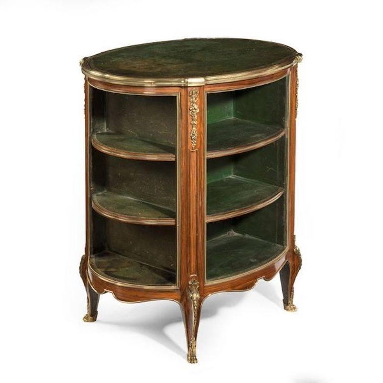 French Napoleon III Open Kingwood and Leather Bookcase For Sale